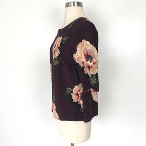Neu Look Tops - Neu Look | Maroon Floral Button Back Top